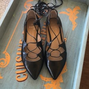 Banana Republic Allie lace-up flat, black leather